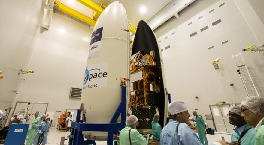 Sentinel-2A being encapsulated in Vega fairing. Credit: ESA