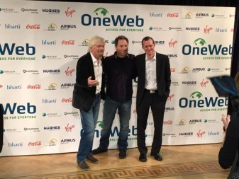 From left, Richard Branson, OneWeb founder Greg Wyler and Virgin Galactic CEO George Whitesides.