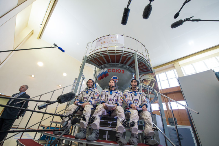 The Expedition 44/45 crew has a little longer to wait for their upcoming Soyuz launch to the International Space Station. Credit: NASA/Bill Ingalls