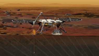 Concept art of InSight Lander drilling beneath Mars' surface. Credit: NASA