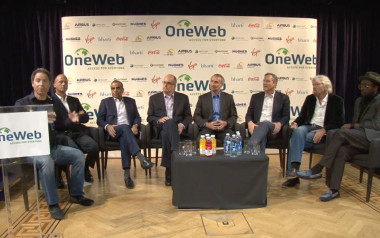 OneWeb CEO Greg Wyler (left) and senior executives from the company's roster of strategic partners. Credit: OneWeb