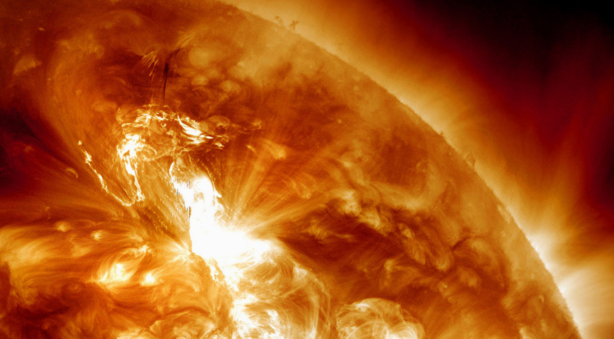 The Air Force is seeking information on a sensor that will detect charged particles that often result from solar flares like the one shown above erupting on the sun's surface. Credit: NASA