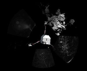 Photo of Philae's landing site with a sketch of the lander superimposed to show its orientation. Credit: ESA/Rosetta/Philae/CIVA