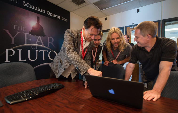 The band Styx, also the name of Pluto's fifth moon, recently visited Stern at The Johns Hopkins University Applied Physics Laboratory in Laurel, Maryland. Credit: NASA, Joel Kowsky