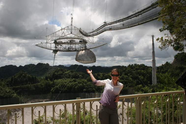 "Asteroid specialist and doctoral candidate Alessondra ""Sondy"" Springmann at the Arecibo radio observatory in Puerto Rico. Credit: Alessondra Springmann"