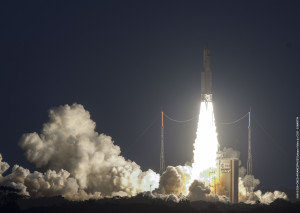 Ariane 5 carrying Star One C4 and MSG-4 lifts off from Europe's French Guiana spaceport. Credit: Arianespace