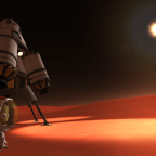 A Kerbal bravely explores a weird, red world. Credit: Squad