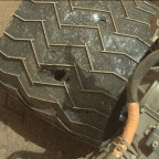 Curiosity rover made use of its Mastcam: Left camera on April 21, 2015 to photograph the rover's damaged wheel. Curiosity has six independently driven wheels. Credit: NASA