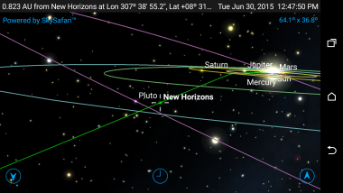 Screen grab from Pluto Safari app showing trajectory of New Horizons spacecraft. Credit: Simulation Curriculum