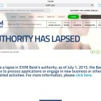 The U.S. Ex-Im Banks lets visitors to its website know that its authority lapsed July 1. Credit: SpaceNews