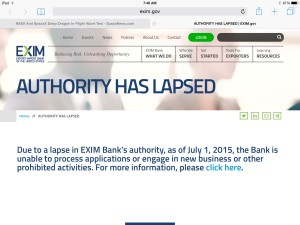 The U.S. Ex-Im Bank let visitors to its website know that its authority lapsed July 1. Credit: SpaceNews