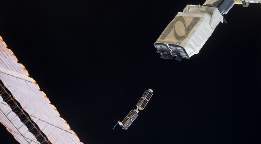 A3R and Centennial-1 (the shorter cubesat) deploy from the NanoRacks dispenser aboard ISS. Credit: NASA