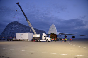 Intelsat 34 is loaded into an Antonov 124 cargo aircraft for its flight from Moffett Field, California, to the Ariane 5  launch site in French Guiana. Credit: Intelsat