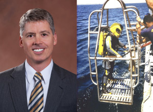 Space analyst Chris Quilty now (senior vice president of equity research for Raymond James and Associates) and then (Navy hardhat diver). Credit: Chris Quilty
