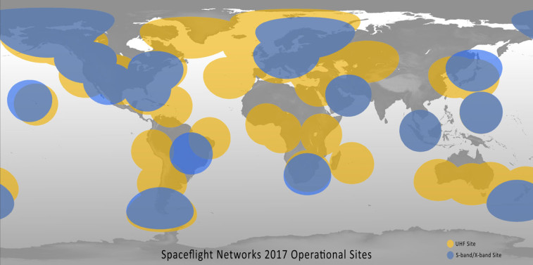This Spaceflight Networks map represents the full complement of the Seattle company's currently existing and future planned ground sites around the world.