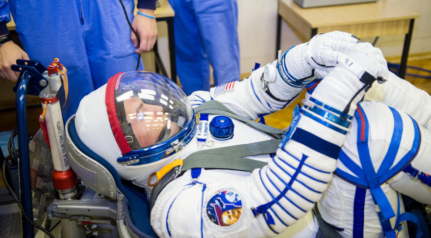 Expedition 44 Flight Engineer Kjell Lindgren of NASA has his Russian Sokol suit pressure checked in preparation for his July 22 launch to ISS aboard the Soyuz TMA-17M spacecraft.  Credit: GCTC/NASA/Irina Peshkova