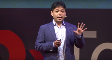 Nobu Okada, chief executive and founder of Astroscale, seen here giving a TED talk in Tokyo. TEDx Talk screen grab