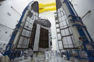 MUOS-4, the next satellite scheduled to join the U.S. Navy's Mobile User Objective System  secure communications network, has been encapsulated in its protective launch vehicle fairing for its  launch from Cape Canaveral Air Force Station. Credit: ULA