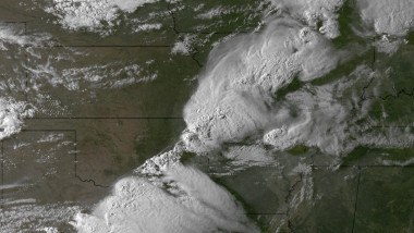 Thunderstorms and tornadoes are caught sweeping through the Midwest in 2011 by a NOAA satellite. Credit: NOAA
