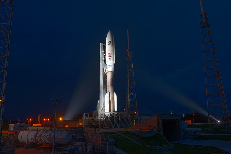 An Atlas V rocket carrying the MUOS-4 mission at Space Launch Complex 4. Credit: ULA