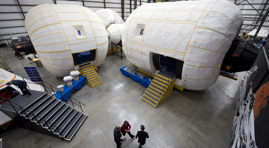 A full-scale mockup of Bigelow Aerospace's Space Station Alpha inside their Nevada facility. Credit: NASA/Bill Ingalls