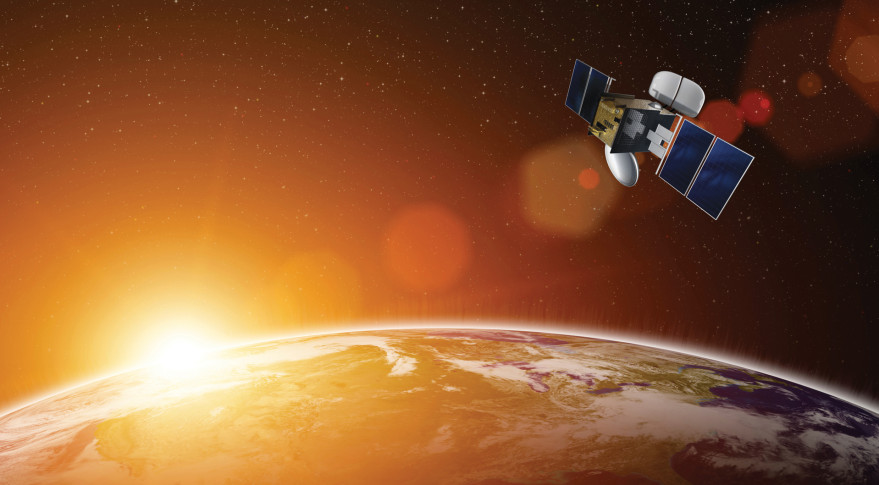 Artist's Conception of a Broadband satellite over Earth. Credit: Criccieth TV