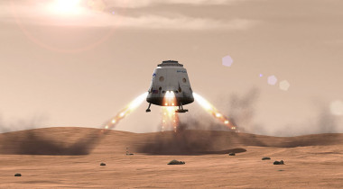 SpaceX Dragon capsule landing on Mars. Credit: SpaceX artist's concept