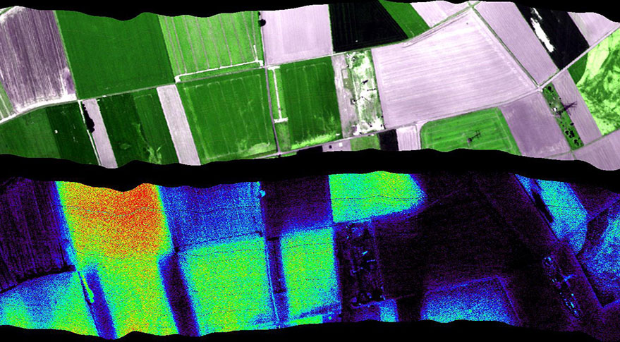 The Flex mission will map global vegetation fluorescence to measure plant-stored carbon. This image, captured by an airborne sensor called Hyplant to support Flex, shows fluorescence from different types of vegetation. The highest fluorescence values (bright yellow-green) were found in sugar beet. Credit: U. Rascher, Forschungszentrum Jülich