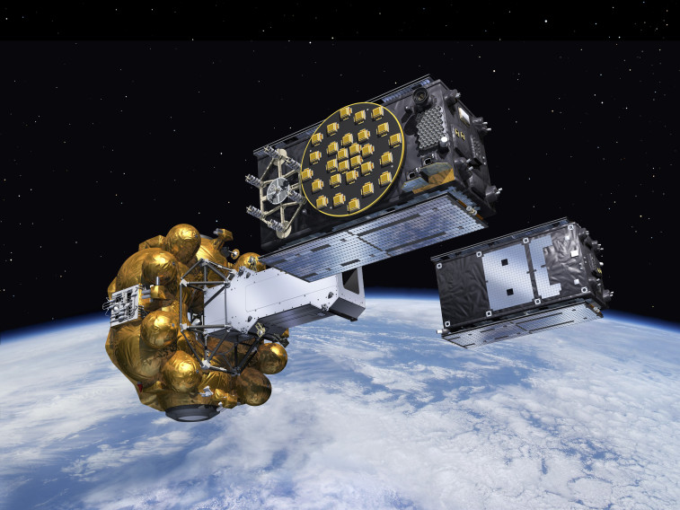 Artist's view of two Galileo satellites released into orbit. Credit: ESA