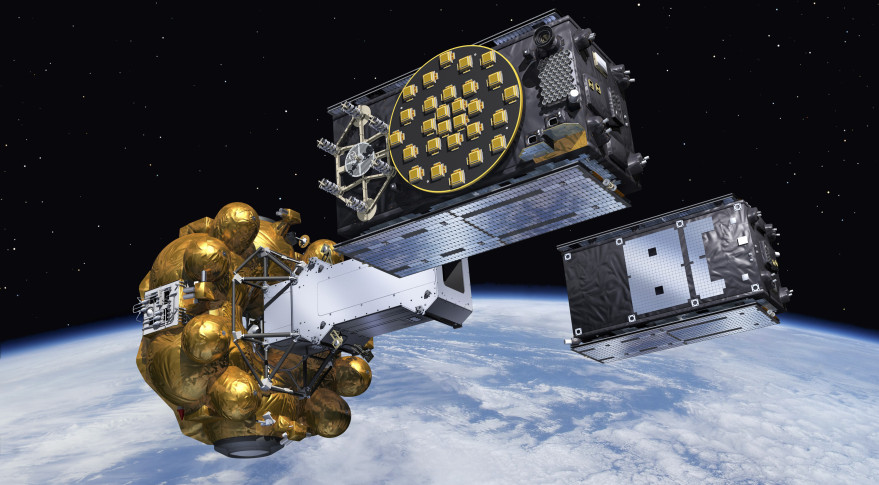 Artist's view of two Galileo satellites released into orbit. Credit: ESA
