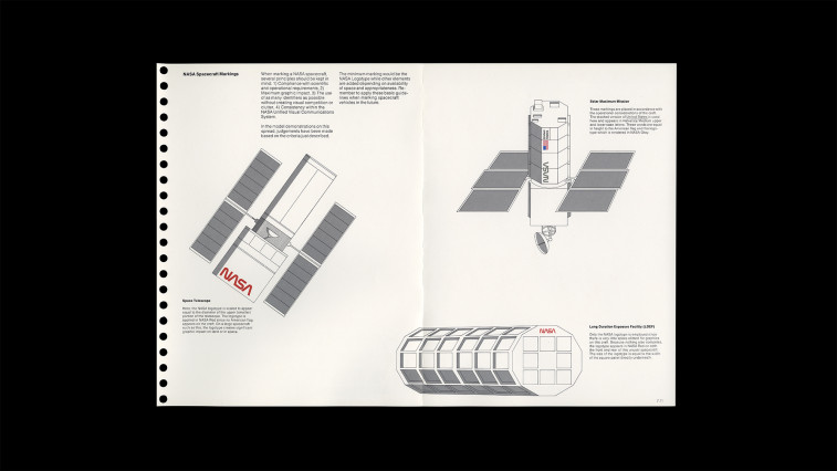 A spread from the original NASA Manual detailing how to apply the logo to spacecraft and satellites.