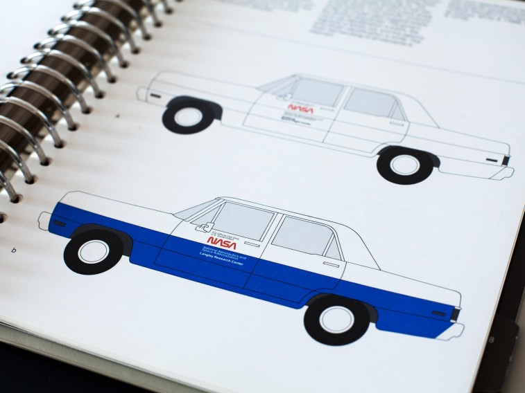 A spread from the original NASA Manual detailing how to apply the identity to vehicles.