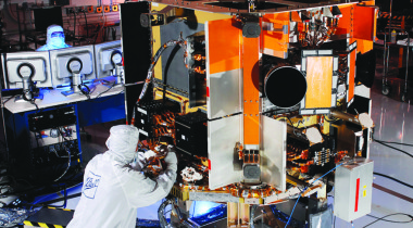 Caption: Space Based Space Surveillance space vehicle bus structure upon completion.  Credit: BALL AEROSPACE PHOTO