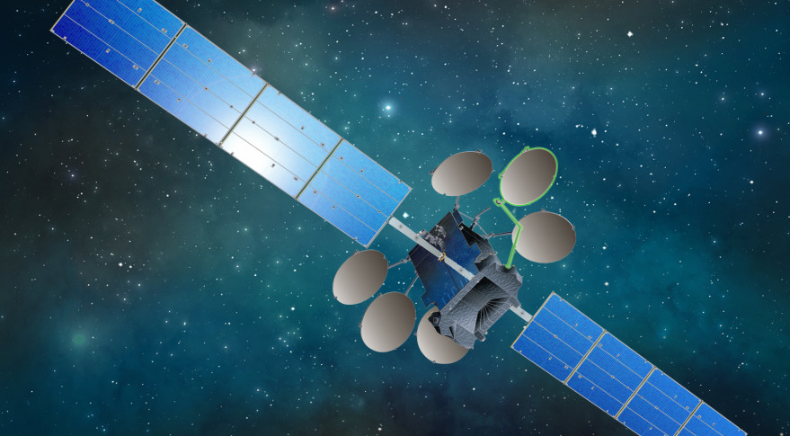 DARPA is studying whether a communications satellite with a robotic arm can put an antenna in place.  In this artist's rendering, the robotic arm is highlighted in green.  Credit: SSL.