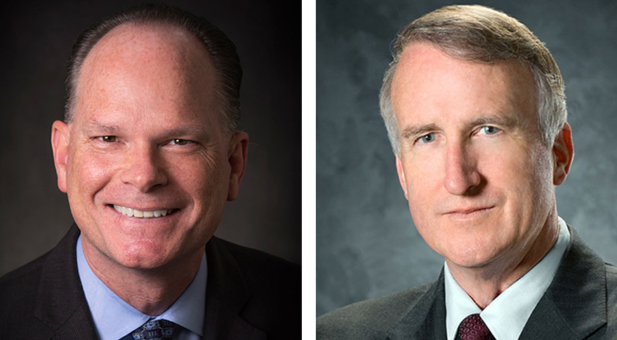 Chris Chadwick (left) is president and chief executive officer of Boeing Defense, Space &; Security  and a member of Boeing's executive council. Craig R. Cooning (right) is president of Boeing Network and Space Systems. Credit: Boeing