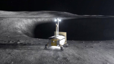 In this concept image, a resource prospector rover searches for water ice on the lunar surface. Credit: NASA