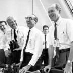 Apollo 11 officials, including George Mueller (center), relax after liftoff. Credit: NASA