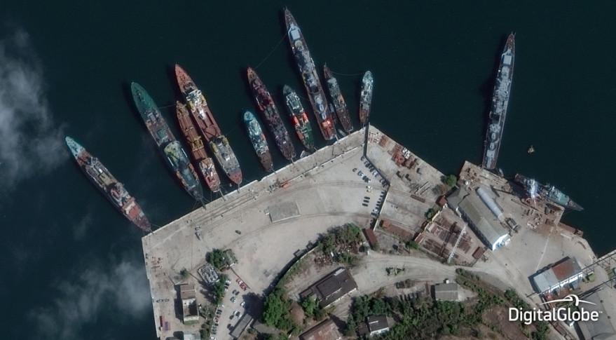 This image from DigitalGlobe's WorldView-3 satellite shows the Crimean port of Sevastopol. Credit: DigitalGlobe