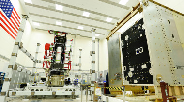 The propulsion module (left) and system module (right) of the first GOES-R series weather satellite at Lockheed Martin's cleanroom near Denver. Credit: Lockheed Martin