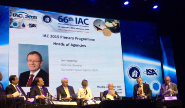Heads of the world's leading space agencies take part in a special plenary session at IAC 2015 in Jerusalem, including (from right) NASA Administrator Charles Bolden and European Space Agency Director-General Johann-Dietrich Woerner. Credit: ESA/Franco Bonacina