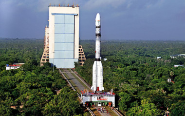 An Indian Geosynchronous Satellite Launch Vehicle rolls out to the launch pad on Sriharikota Island. Credit: ISRO