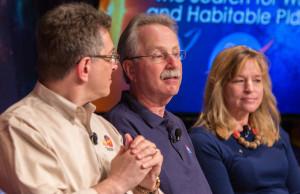 NASA Astrophysics Director Paul Hertz (middle) shown during a briefing at NASA headquarters in April 2015. Credit: NASA/Joel Kowsky