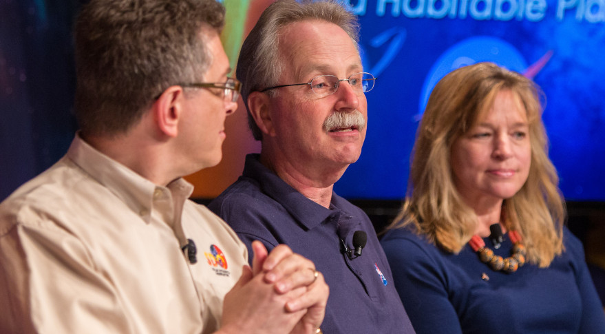 NASA Astrophysics Director Paul Hertz (middle) shown during a briefing at NASA headquarters in April 2015. Credit: NASA/Joel Kowsky