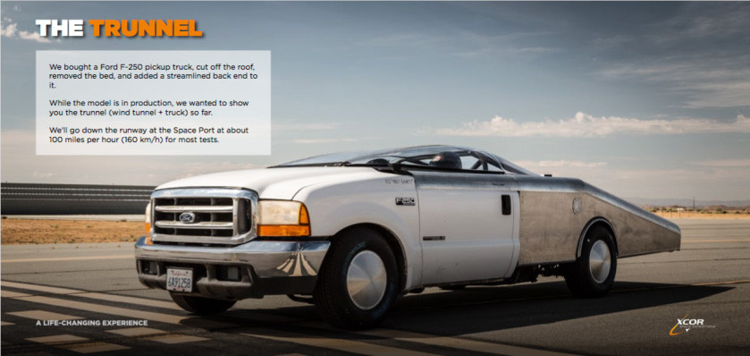 """XCOR's """"Trunnel"""" is a Ford F-250 pickup with its cab removed and a streamlined back end, allowing it to carry the model at speeds of up to 160 km/h on the Mojave Air and Space Port's runways. Credit: XCOR"""