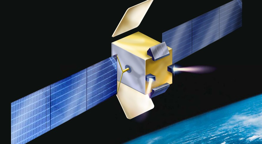Amos-E, an all-electric version of  Israel Aerospace Industries' Amos telecommunications satellite line, is aimed at a market of customers needing 10-20 transponders to maintain an orbital slot. Credit: IAI