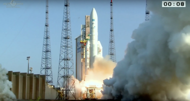 The Ariane 5 lifted off from Kourou, French Guiana, on schedule at 4:30 p.m. Eastern time and placed the Arsat-2 and Sky Muster satellites for Argentina and Australia, respectively, into orbit. The launch was the fifth Ariane 5 mission of 2015. Credit: Arianespace video