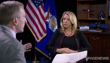 U.S. Air Force Secretary Deborah Lee James talks with SpaceNews military space reporter Mike Gruss on Oct. 9, 2015