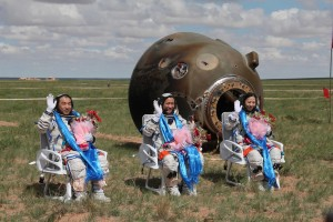The three-person crew of China's Shenzhou 10 mission returned to Earth on June 26, 2013. Credit: CNSA