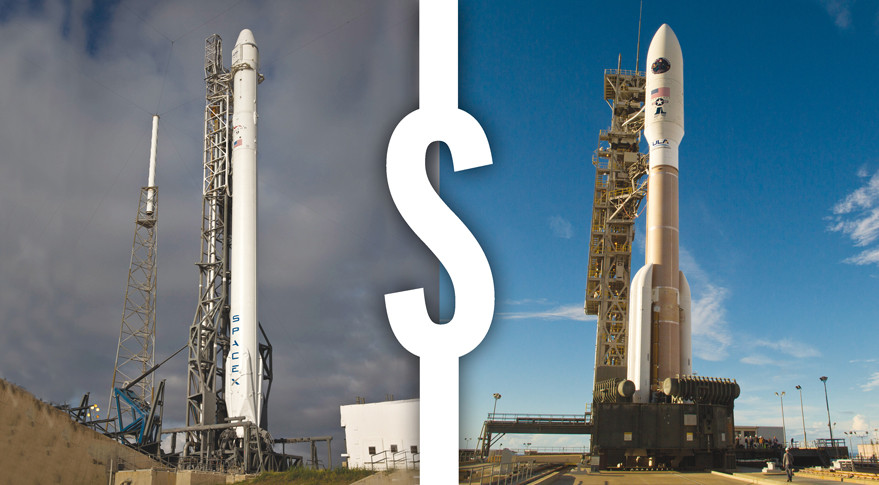 An Air Force official said seven to 10 missions to be awarded competitively would include a number of GPS 3 satellite launches, which appear well suited to the capabilities of SpaceX's Falcon 9 rocket (left). Meanwhile, a National Reconnaissance Office mission dubbed NROL-79 will launch atop ULA's Atlas 5 rocket. Credit: An Air Force official said seven to 10 missions to be awarded competitively would include a number of GPS 3 satellite launches, which appear well suited to the capabilities of SpaceX's Falcon 9 rocket (left). Meanwhile, a National Reconnaissance Office mission dubbed NROL-79 will launch atop ULA's Atlas 5 rocket. Credit: SpaceX/ULA
