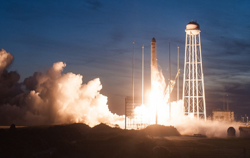Mid-Atlantic Regional Spaceport Pad 0A is seen after the Orbital ATK Antares rocket, with Cygnus spacecraft onboard, suffered a catastrophic anomaly moments after launch on Tuesday, Oct. 28, 2014, at NASA's Wallops Flight Facility in Virginia. The Cygnus spacecraft was filled with supplies slated for the International Space Station, including science experiments, experiment hardware, spare parts, and crew provisions. Photo Credit: (NASA/Joel Kowsky)